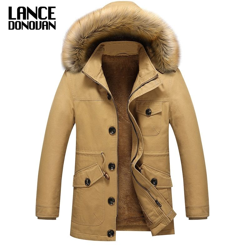 High Quality 2017 New Fashion Parka Men's Clothing Casual Winter Warm Jackets And Coats With Fur Collar