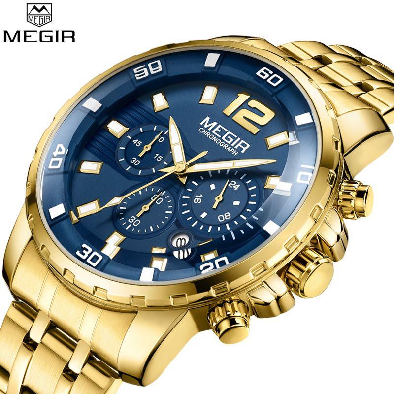 Megir Luxury Brand Sport Men Watches Stainless Steel Strap Chronograph Military Quartz Watch Business Clock Relogios Masculinos