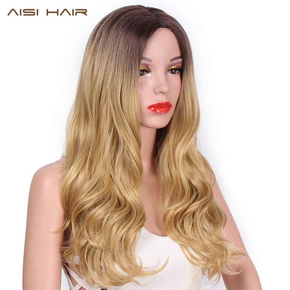 AISI HAIR 26 inch Blonde Ombre Wig <font><b>Synthetic</b></font> Long Wavy Natural Hair