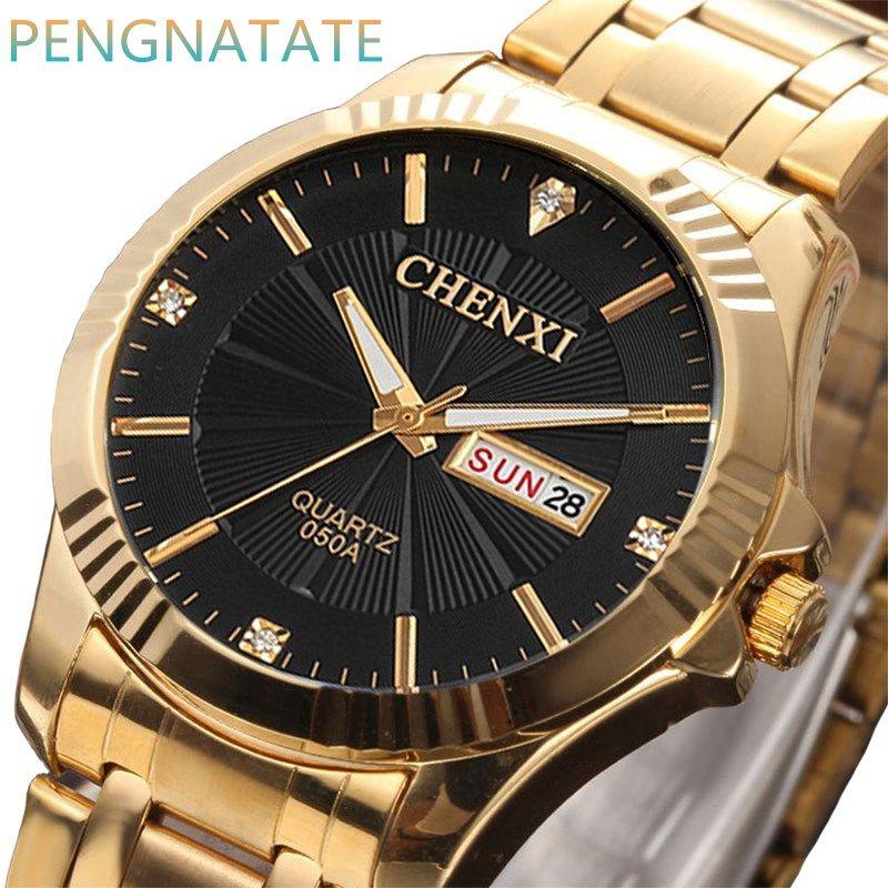CHENXI золотые часы Для мужчин наручные часы лучший бренд класса люкс известный мужской часы золотые кварцевые выполните Календари Relogio masculino ...