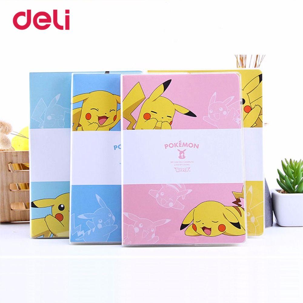 Deli pokemon cute Waterproof PVC Cover Notebook pikachu journal plan kawaii notebook School Office Supplies Stationery hot sell