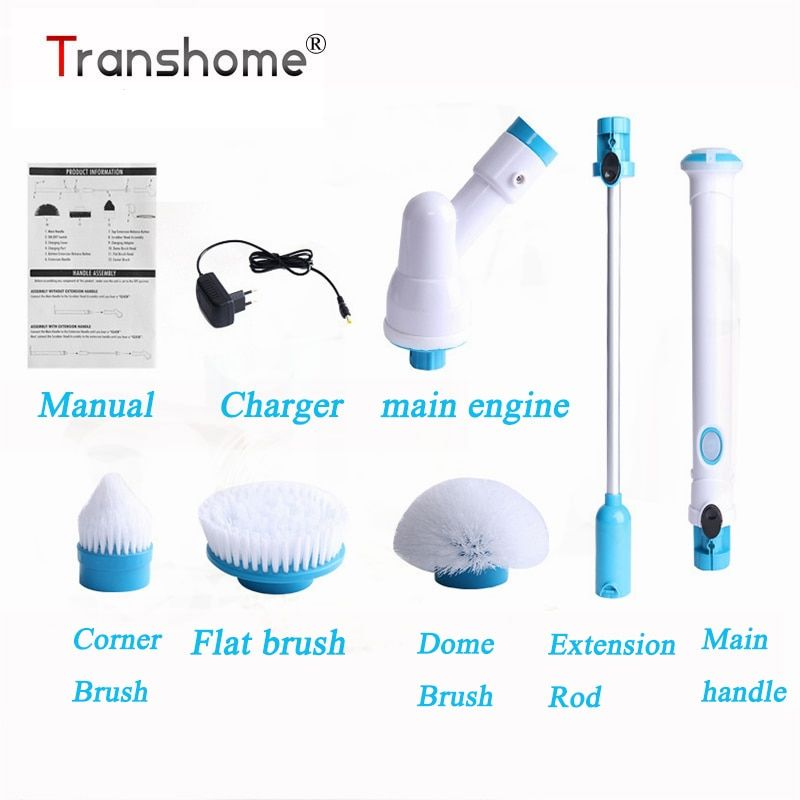 Transhome Multi-function Electric Brushes Wireless Charging Electric Long Handle Cleaning Brush Household Cleaning Tools