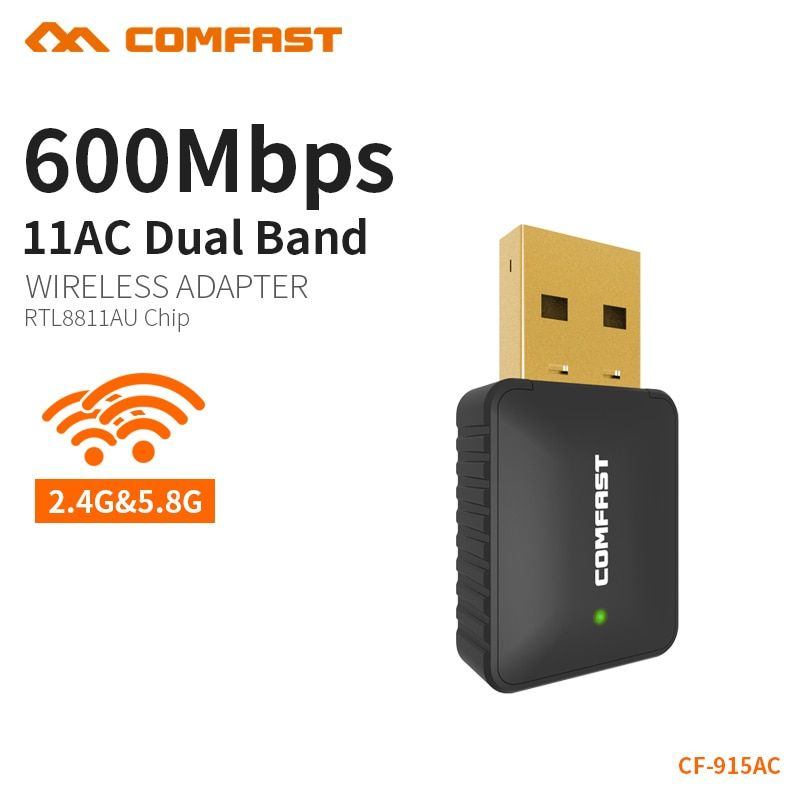 COMFAST Mini AC 600 Mbps WiFi Adaptateur USB WIFI Antenne Wi-Fi Dongle Sans Fil Réseau LAN Carte pour PC De Bureau Récepteur CF-915AC
