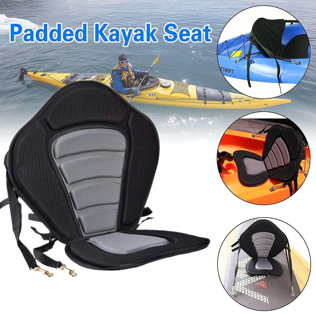 Kayak Cushion Deluxe Padded Kayak / Boat Seat Portable Soft Antiskid Padded Base Adjustable High Backrest Back Cushion Canoe