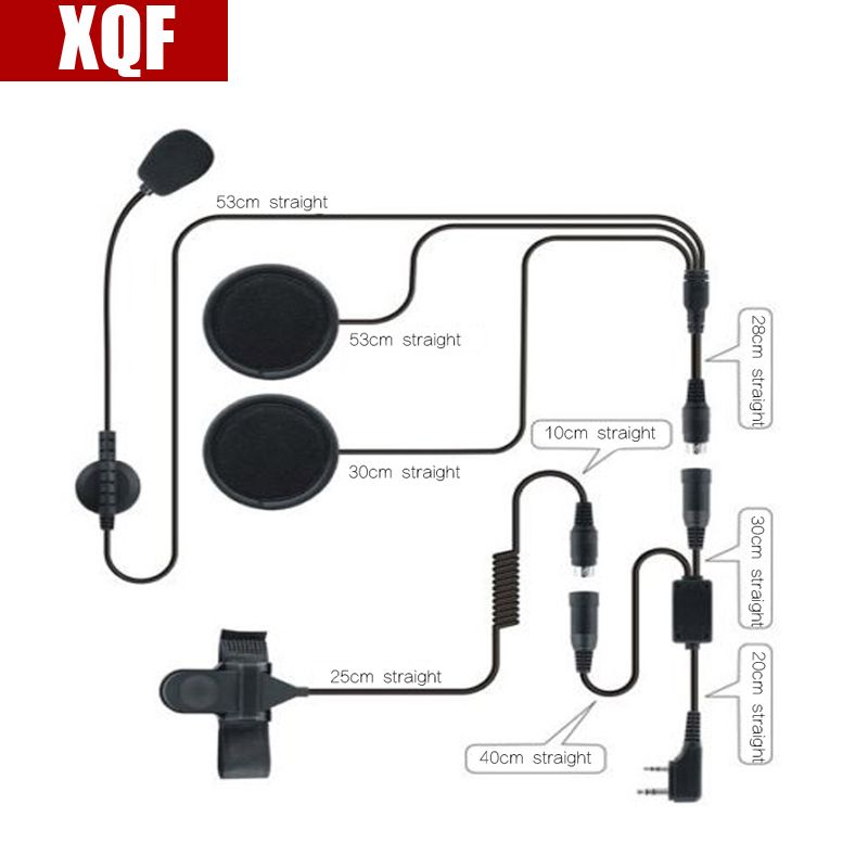 XQF 2 Pin PTT Motorcycle Helmet Headset for BAOFENG UV-5R two way radio CB Ham Radio Earphone