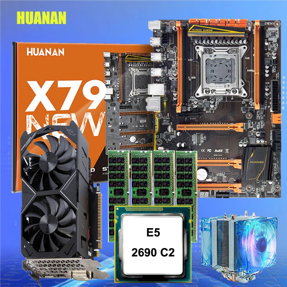 Brand HUANAN X79 deluxe gaming motherboard set with cooler CPU E5 2690 C2 RAM 64G DDR3 1600MHz RECC GTX1050ti 4G DDR5 video card