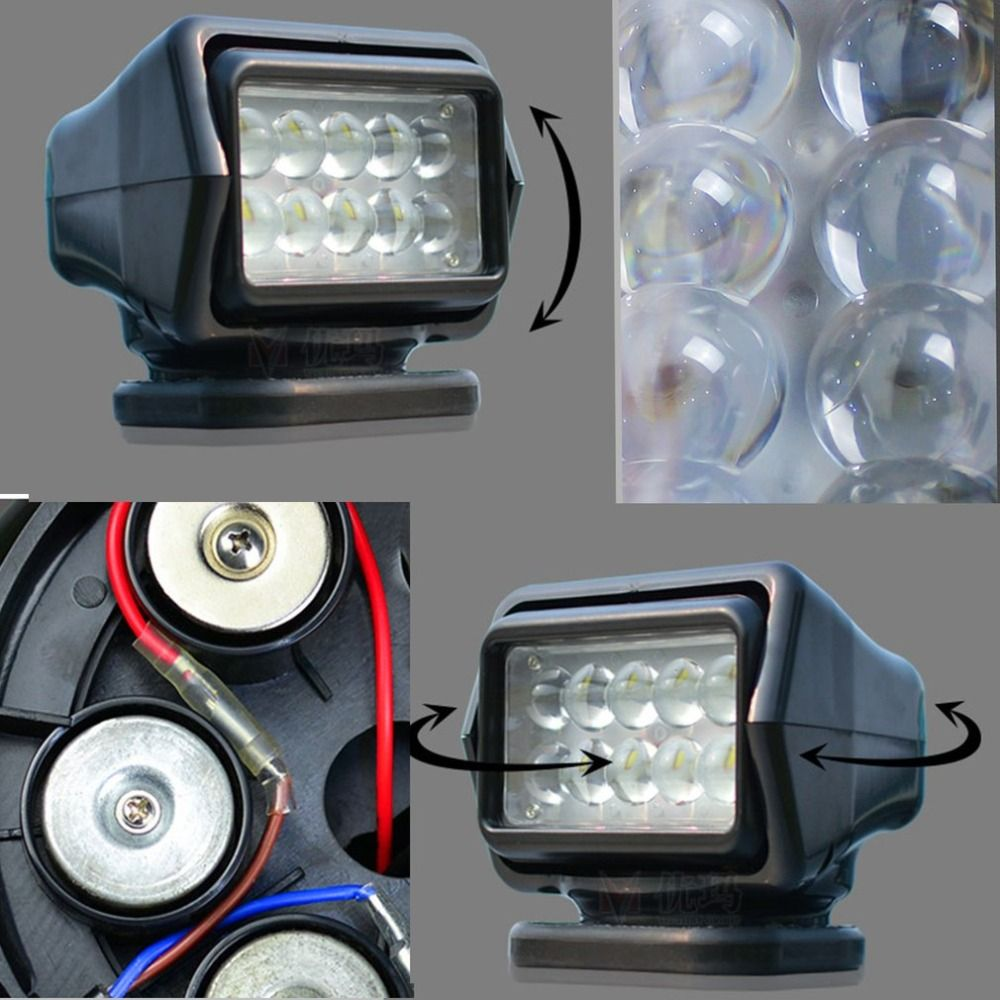 50W LED Light Spot Light Remote Control Super Bright Waterproof Outdoor Spotlight For Truck Marine Car