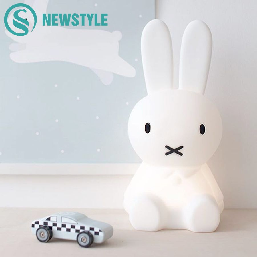 Cute Rabbit LED Night Light Children Bedroom Night Lamp Dimmable Cartoon Decorative Lamp for Baby Birthday Christmas Gift 50cm