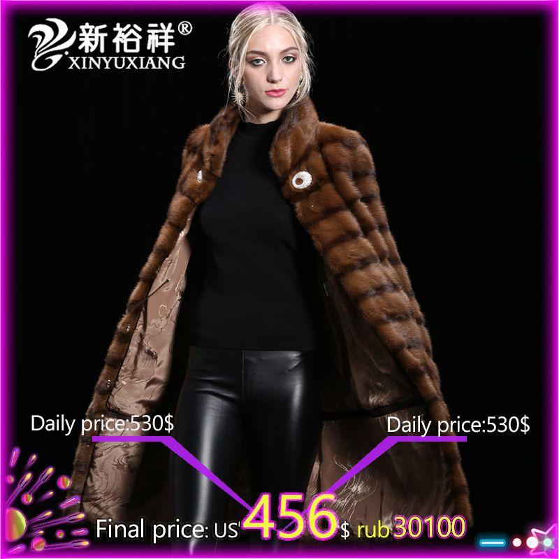 XINYUXIANG Women Real Mink Fur coat Winter Genuine Mink Fur Clothes 2018 Thick long warm Fur Jacket Women Customizable