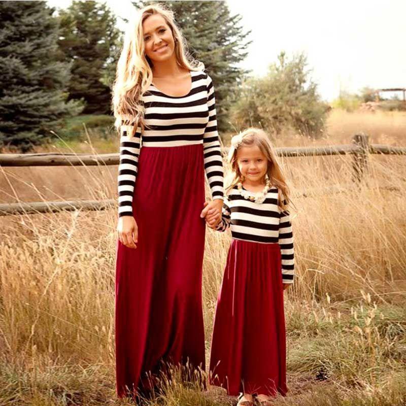 Mère fille dresse Famille Correspondant vêtements Rayé À manches Longues Patchwork Maman et fille robe Famille look Mode comme maman