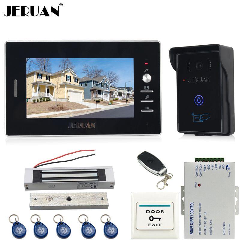 JERUAN 7 zoll farbe screen video-türsprechanlage sprechanlage kit RFID wahltaste wasserdichte Kamera 180 KG magnetverschluss In lager