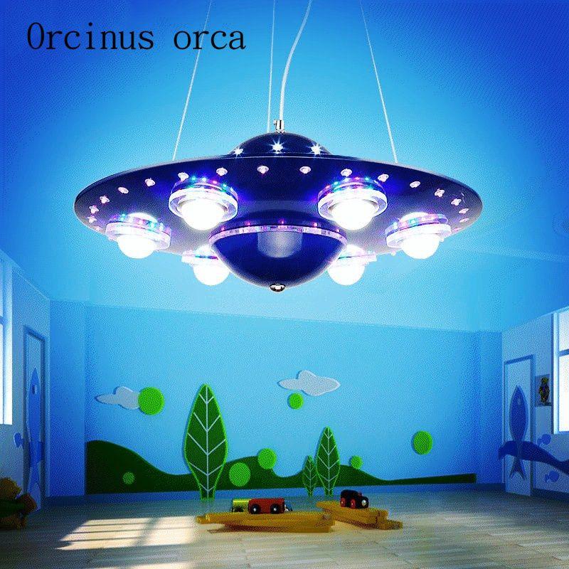 Kinder zimmer ufo kronleuchter, kreative cartoon, fliegende untertasse kronleuchter, junge schlafzimmer licht, led wohnzimmer, auge pflege lampe