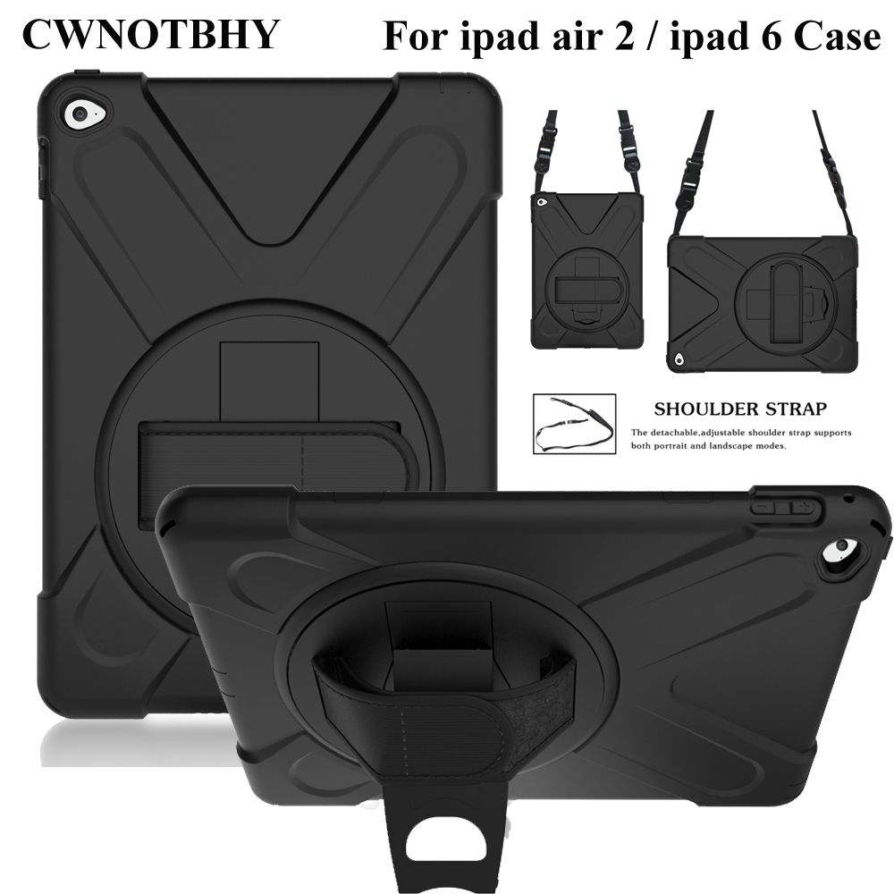 For iPad Air 2 A1566 A1567 Shockproof Kids Protector Case Heavy Duty Silicone Hard Cover kickstand Hand bracel+Shoulder Strap