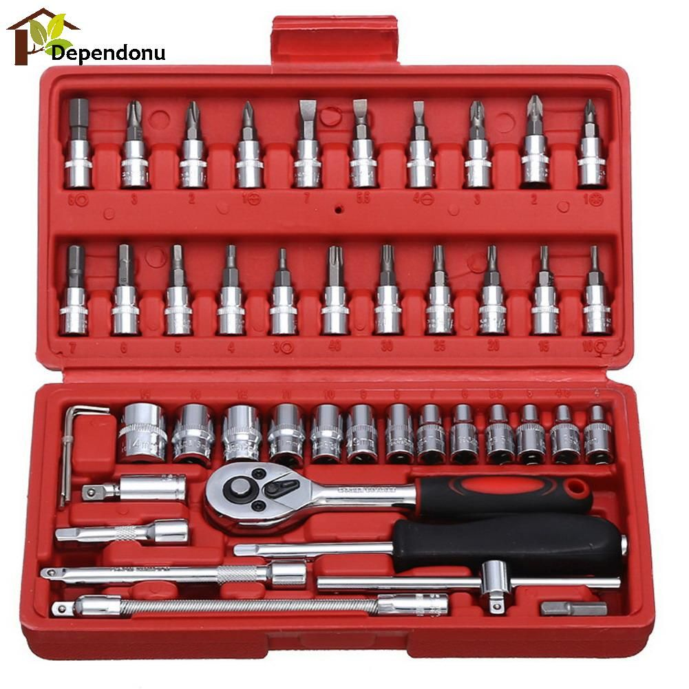 46pcs/set Carbon Steel Combination Tools Set Wrench Batch Head Ratchet Pawl Socket Spanner Screwdriver Household Car Repair Tool