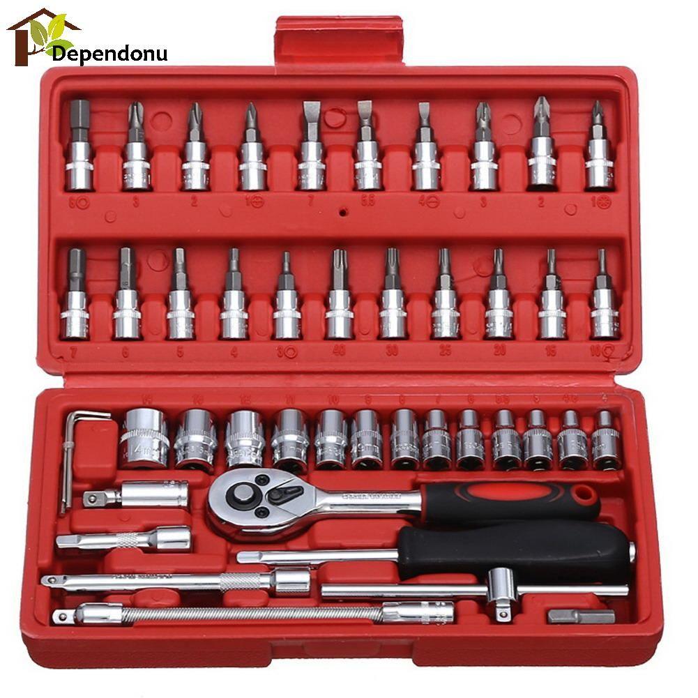 46pcs/set Carbon Steel Wrench Batch Head Ratchet Pawl Socket Spanner Screwdriver Household Car Repair Tool