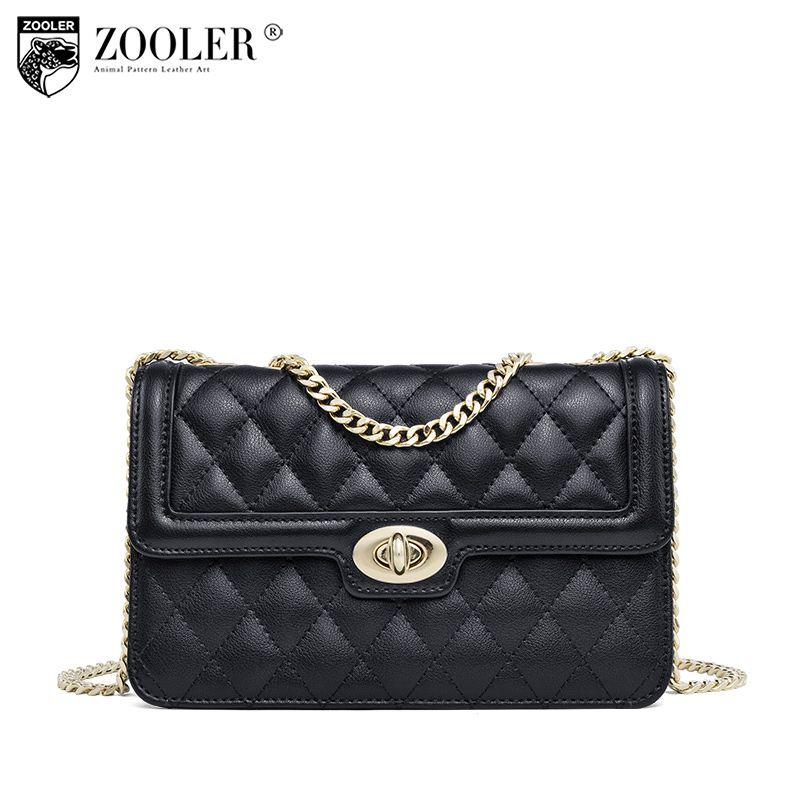ZOOLER Fashion Echtes leder taschen für frau Luxus kreuz körper ketten berühmte marke bolsos mujer schulter tasche E-119
