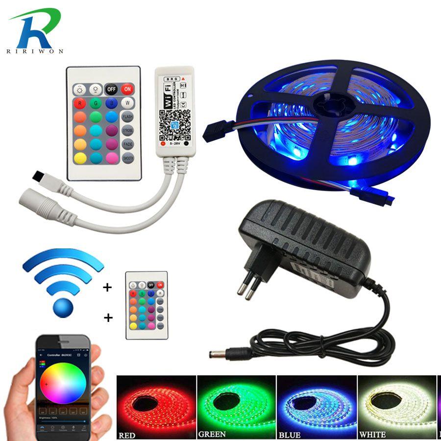 5 M 10 m 20 M SMD 5050 60 LED/m LED rgb imperméable bande de lumière lampe diode wifi contrôleur DC 12 V adaptateur set bande de LED Flexible