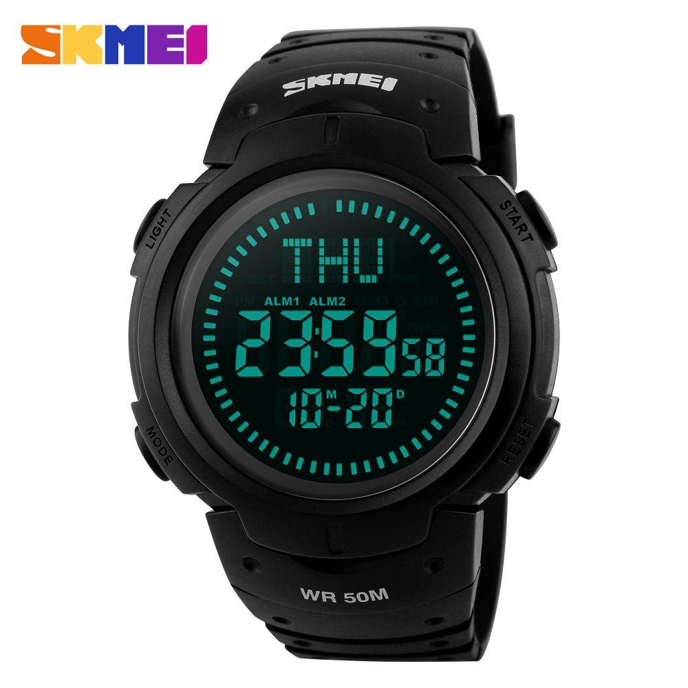 SKMEI Outdoor Chronograph Compass Watch Men Multifunction Waterproof LED Electronic Digital <font><b>Sports</b></font> Watches Fashion Wristwatches