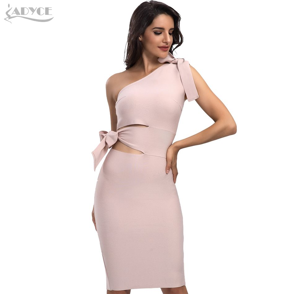 Women Bandage Dress New Arrival 2018 Summer Casual Red Black Apricot One Shoulder Tassel Celebrity Runway Party Dresses Vestidos