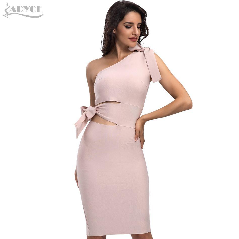 Women Bandage Dress New Arrival 2018 Summer Casual Red Black Apricot One Shoulder Tassel Celebrity Runway Party Dresses Vestidos