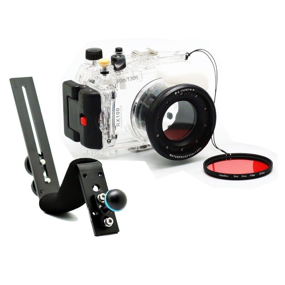 For Sony RX100 DSC-RX100 40m/130ft Waterproof Underwater Housing Diving Case Cover + Diving handle + Filter