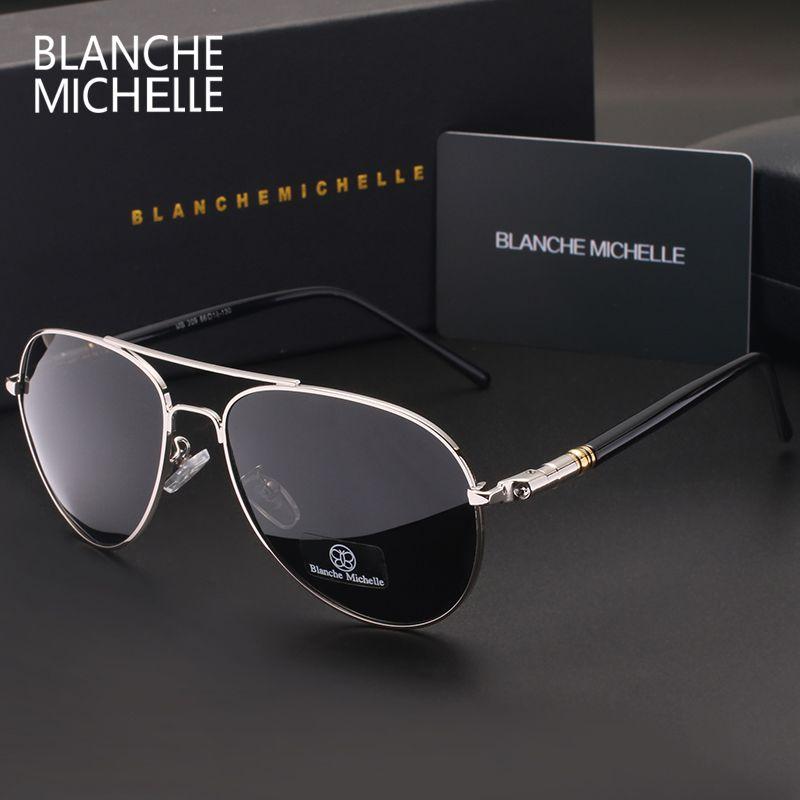 Blanche Michelle 2018 High Quality Polarized Sunglasses Men Brand Designer Sunglass Driving UV400 Vintage Sun Glasses With Box