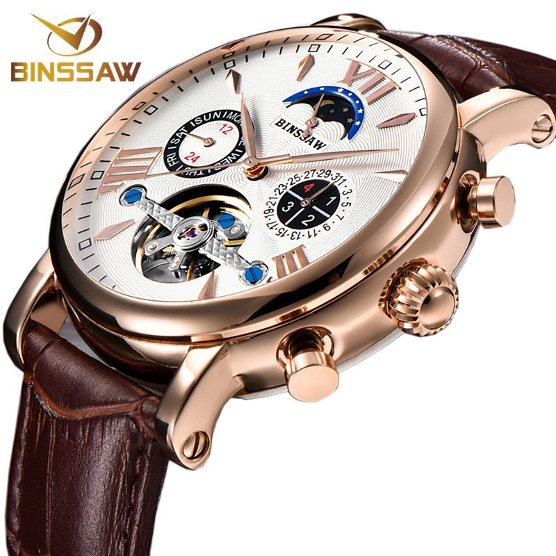 BINSSAW Men Automatic Mechanical Tourbillon Watch Business Casual Leather Calendar Moon Phase Sports Watches Relogio Masculino