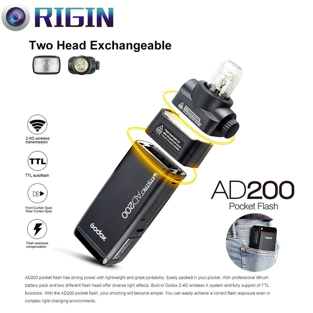 Nouveauté Godox Flash de poche AD200 TTL 2.4G sans fil X système HSS 1/8000 s Double tête avec batterie au Lithium 2900 mAh Flash