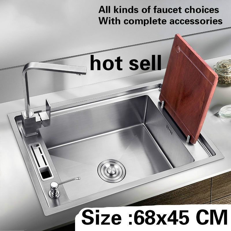 Free shipping Big kitchen sink 304 stainless steel 1.2 mm hand made single slot hot sell 68 x45 CM