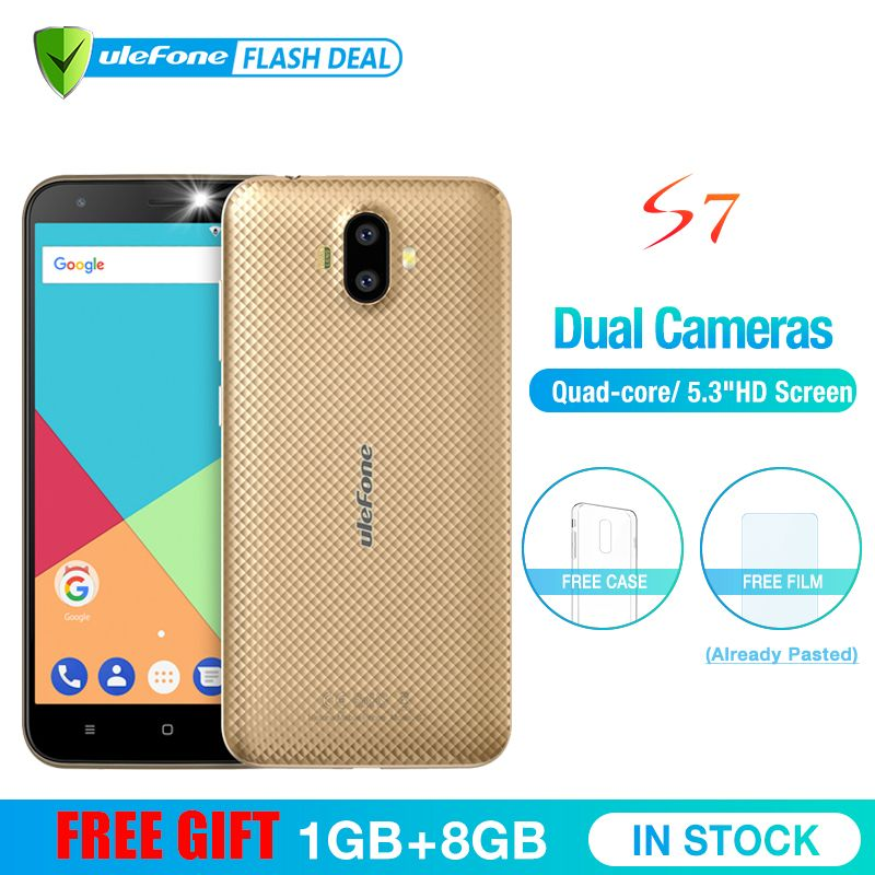Ulefone S7 1 GB RAM + 8 GB ROM Smartphone 5.0 pouces IPS HD affichage Android 7.0 double caméra 3G téléphone mobile