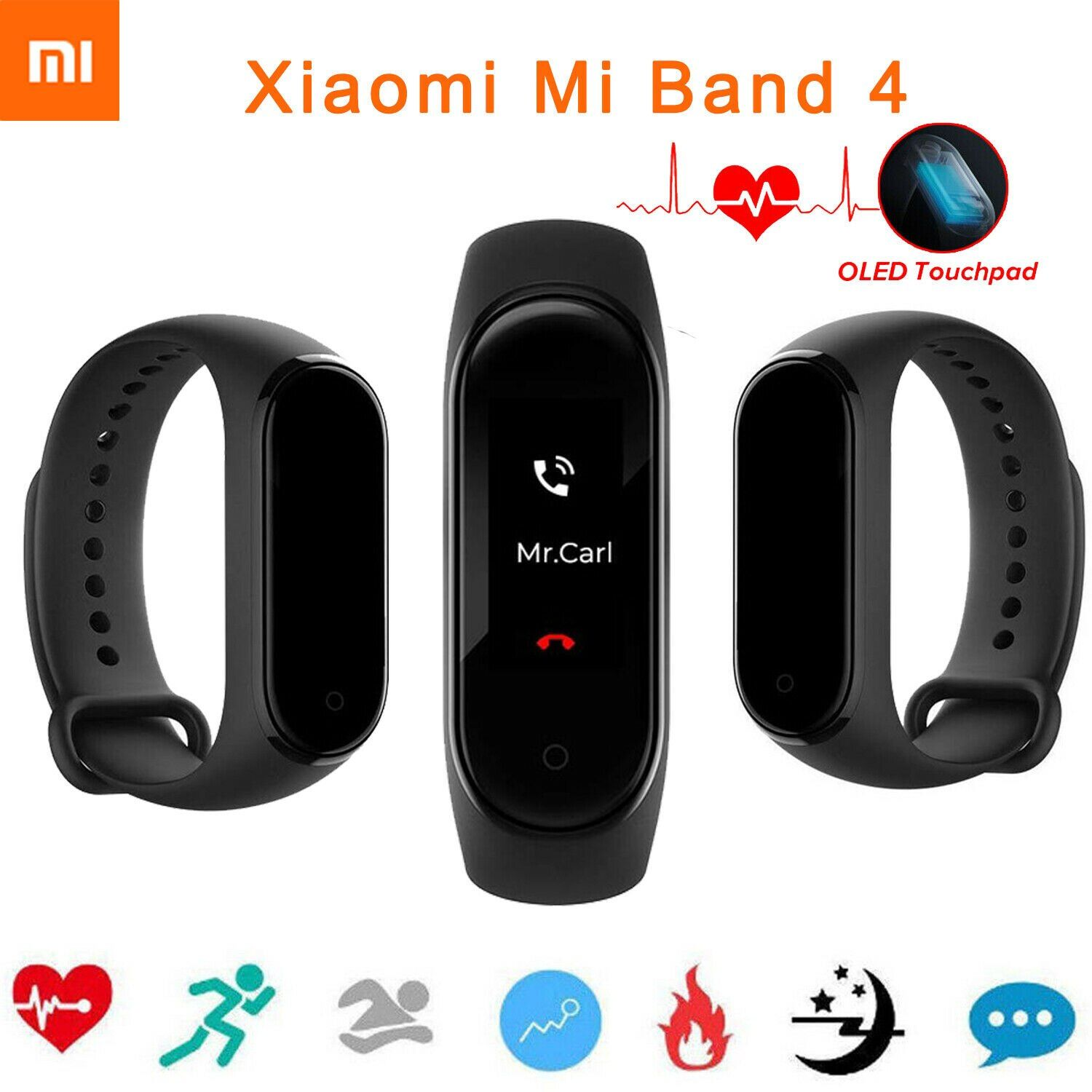 Original Xiaomi Mi Band 4 Music Smart Miband 4 Bracelet Heart Rate Fitness 135mAh Color Screen Bluetooth 5.0 2019 Newest Hot