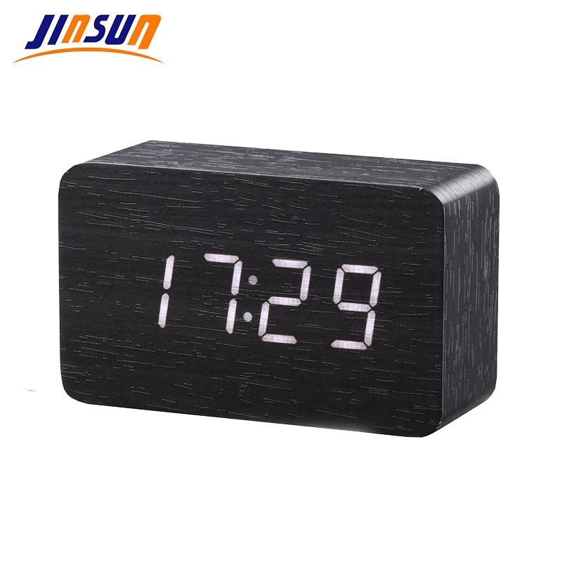 JINSUN Wood Bamboo LED Alarm Clock Reloj Despertador Modern Temperature Desk Clock LED Electronic Desktop Digital <font><b>Table</b></font> Clock