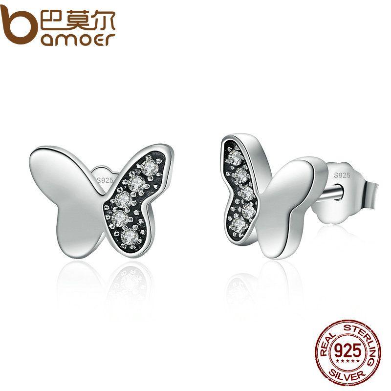 BAMOER Hot Sale Real 925 Sterling Silver Clear CZ Butterfly Stud Earrings Women Fashion Animal Jewelry Oorbellen PAS497