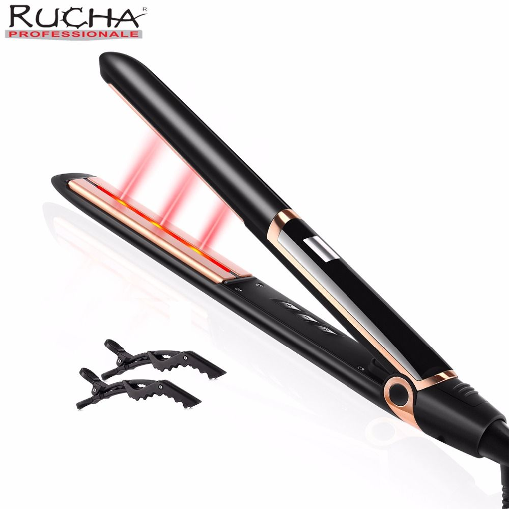 RUCHA 2 In 1 Curling and Straightening Hair Tourmaline Ceramic Anion Hair Straightening With Infrared Hair Care LCD Flat Iron