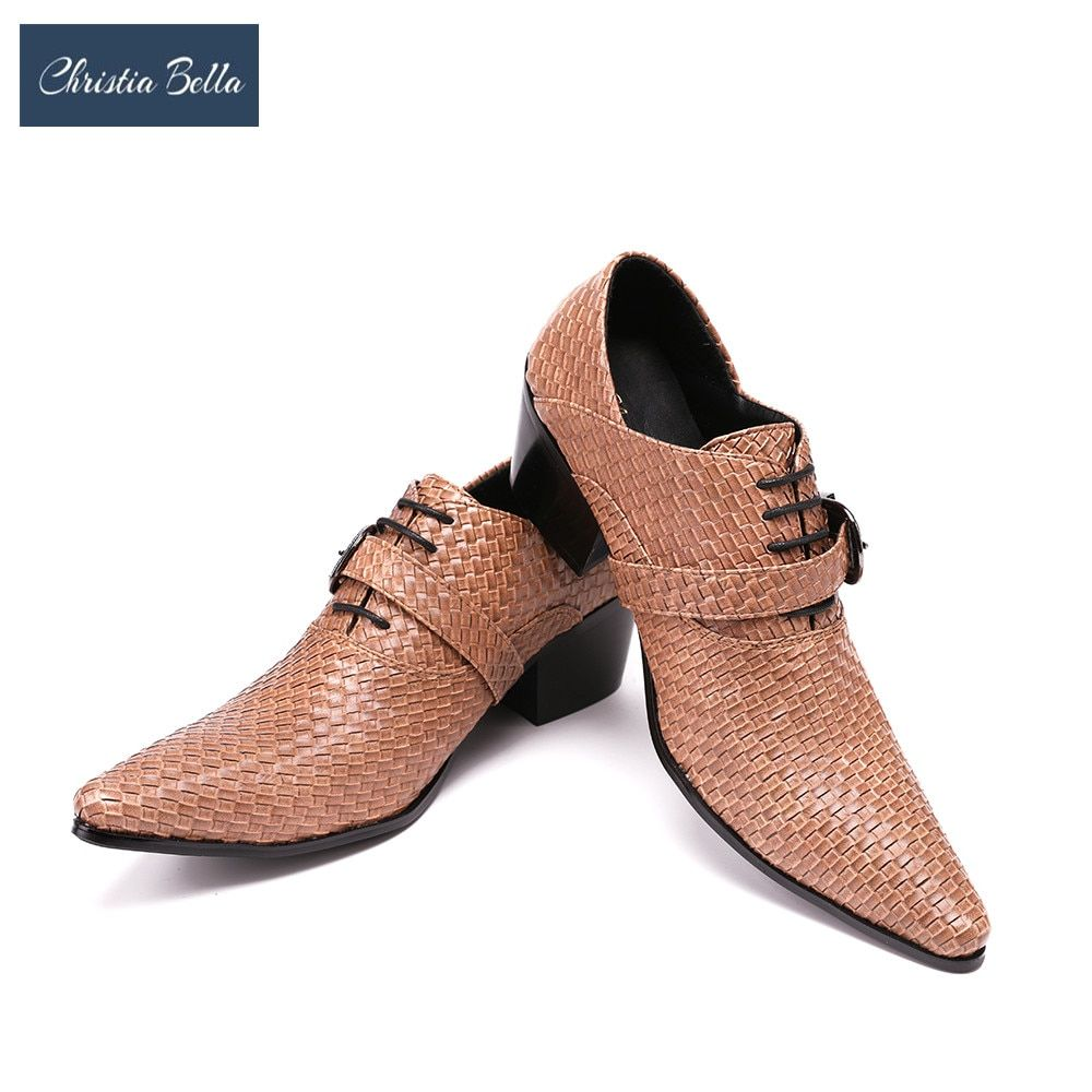 Christia Bella hommes mode en relief en cuir véritable boucle Oxford Zapatos Mujer hommes chaussures robe costume fête affaires hommes chaussures