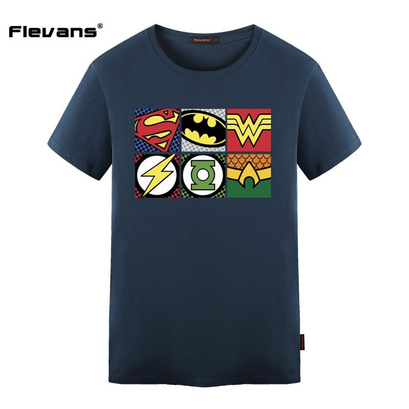 Flevans 2017 Summer New Mens T-shirt DC COMIC Super Hweo Justice League Print T Shirt Men's Cotton Short Sleeve T Shirts