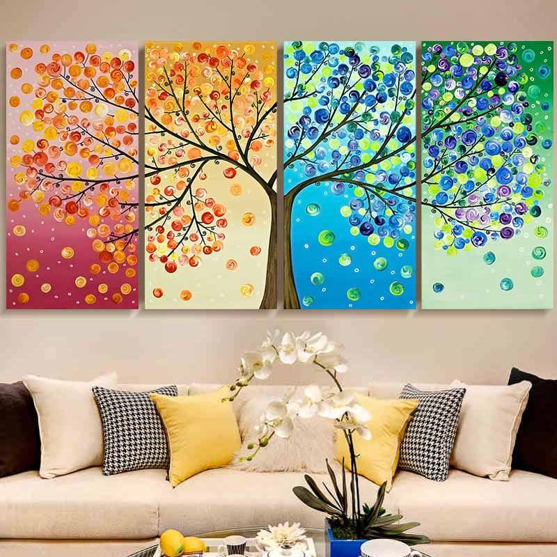 3D Diy DMC counted cross stitch printed on canvas <font><b>Kits</b></font> chinese four picture <font><b>kits</b></font> for embroidery four seasons beauty trees gift