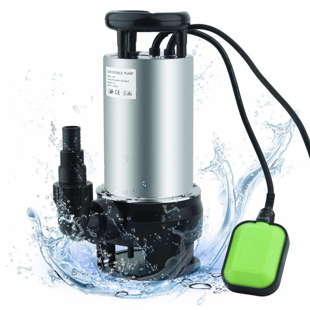 JP1100-D82B Stainless Steel Waste Water Pump Electric Submersible Pump 1100W 20m/H Garden Pond Water Pump EU Plug