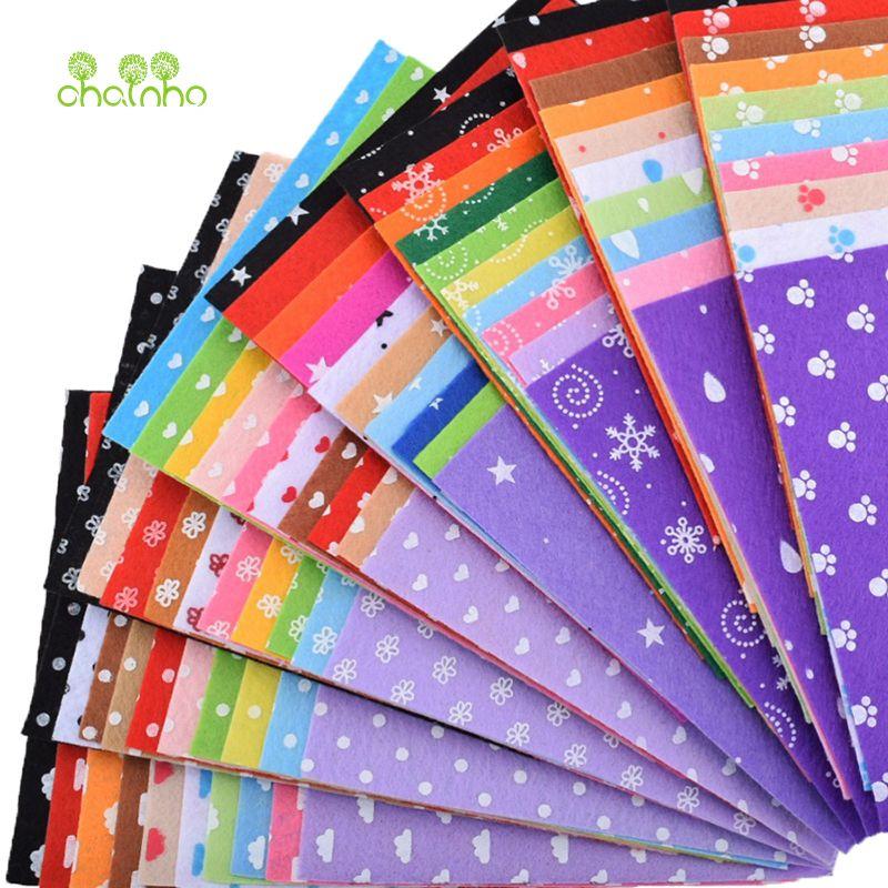 Feutre imprimé Non Tissé Tissu 1mm Épaisseur De Tissu De Polyester Pour La Couture Poupées Maison Décoration Motif Bundle 80 pcs/lot 15x15 cm