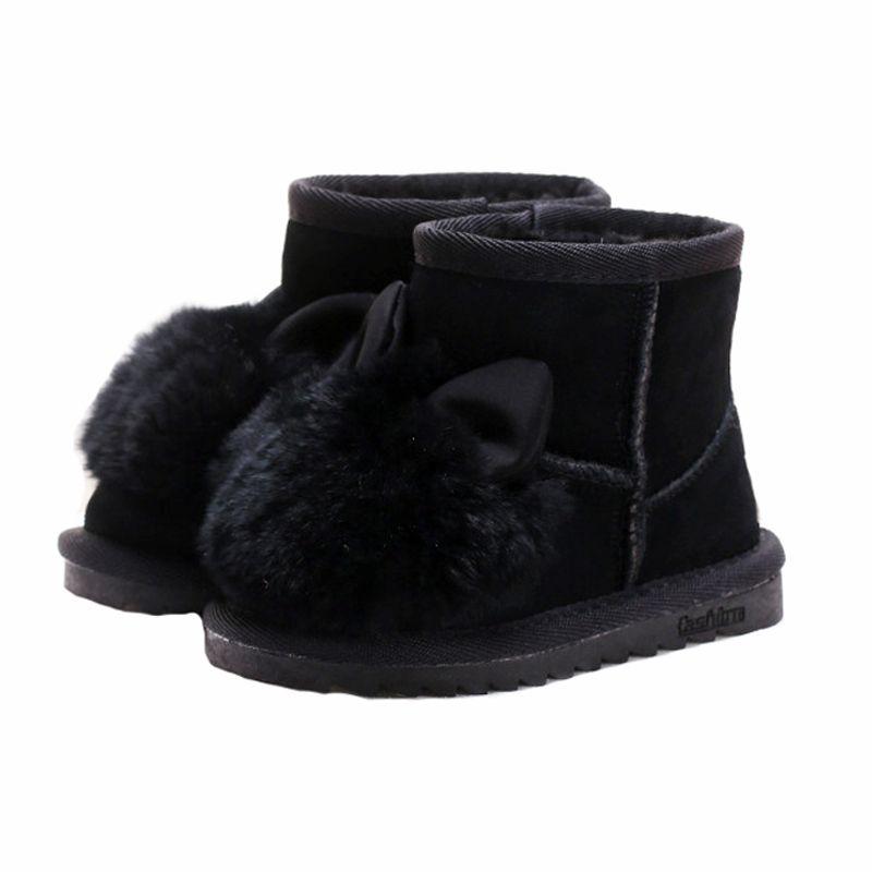 Принцессы для девочек кролик обувь зимние сапоги для девочек зимняя обувь с натуральным мехом детская Натуральная кожа ботильоны для девоч...