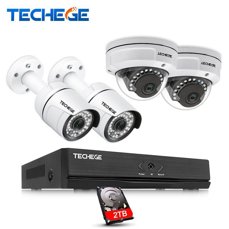 Techege 4CH POE NVR 1080 p HDMI 2.0MP 1.3MP 1.0MP IP Kamera Wetterfeste Outdoor-IR CCTV Kamera Sicherheit System Überwachung kit