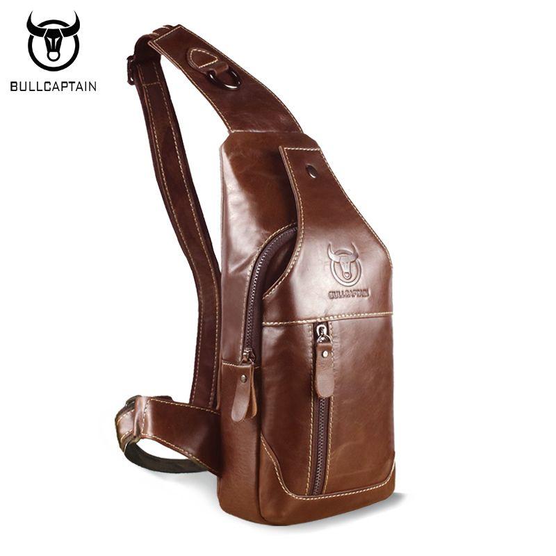 BULL CAPTAIN 2017 Fashion Genuine Leather Crossbody Bags men casual messenger bag Small Brand Designer Male Shoulder Bag 019