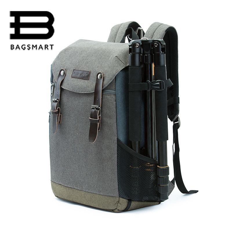 BAGSMART Men Multifunctional Camera Backpack DSLR Bag for 15.6 Laptops Waterproof Rain Cover for Canon Nikon Camera Accessories