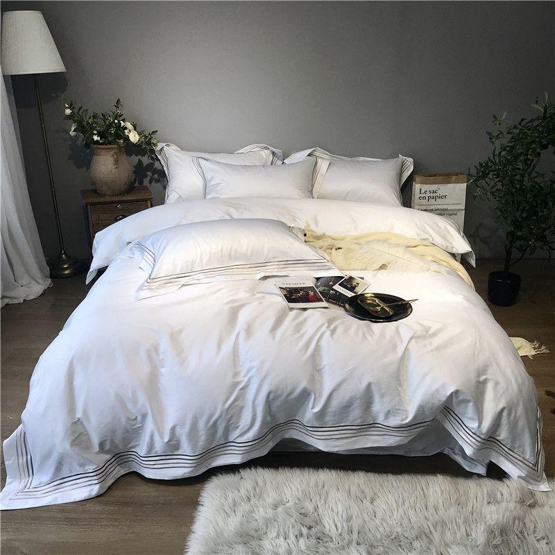 800TC Egyptain Baumwolle Luxus Hotel Bettwäsche Set Weiß Grau Königin könig Bett Set Bettbezug Ausgestattet blatt Bett blatt parure de lit