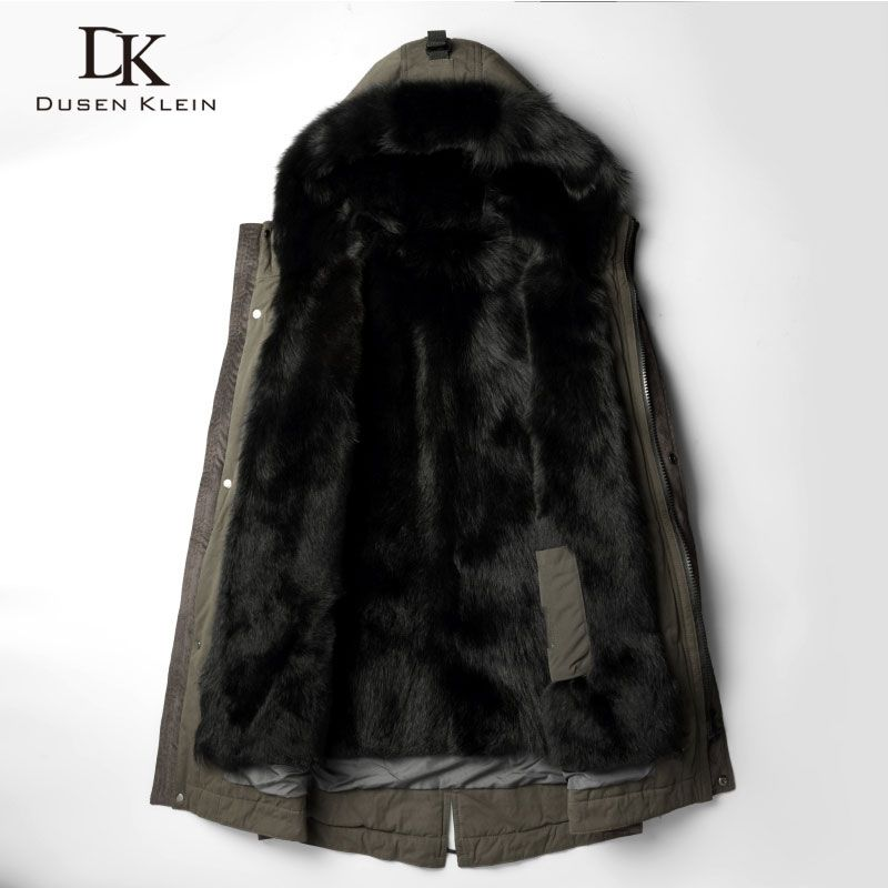 DusenKlein Men Warm Fur Jackets 2018 Winter New Luxury Long Wolf Fur Liner Coat Designer Brand Thick Outerwear Plus size 81E1125