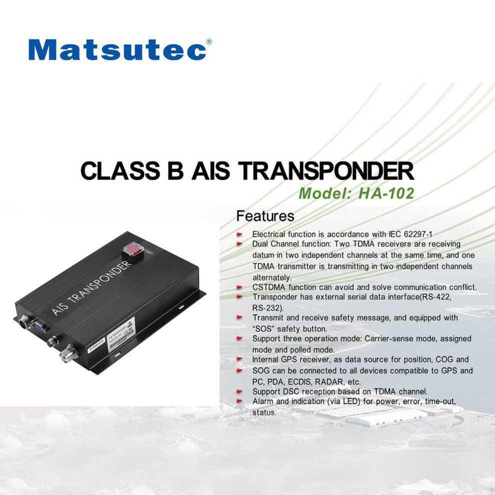 HA-102 Marine AIS receiver and transmitter system CLASS B AIS Transponder Dual Channel Function CSTDMA Function
