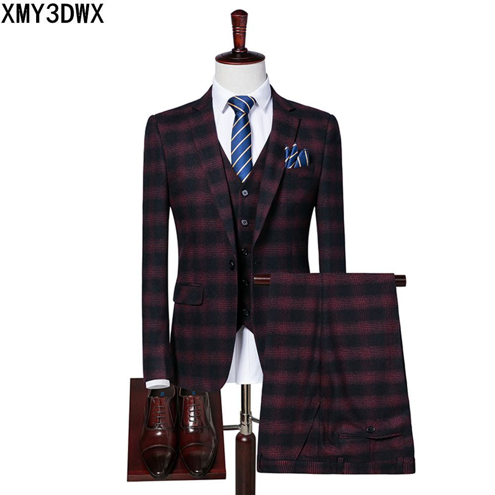 Suit Mens 2017 Slim Fit Formal Wear Male Business Suits High Quality 3 Piece (jacket+pants+vest)Groom Wedding lattice Suit S/3XL