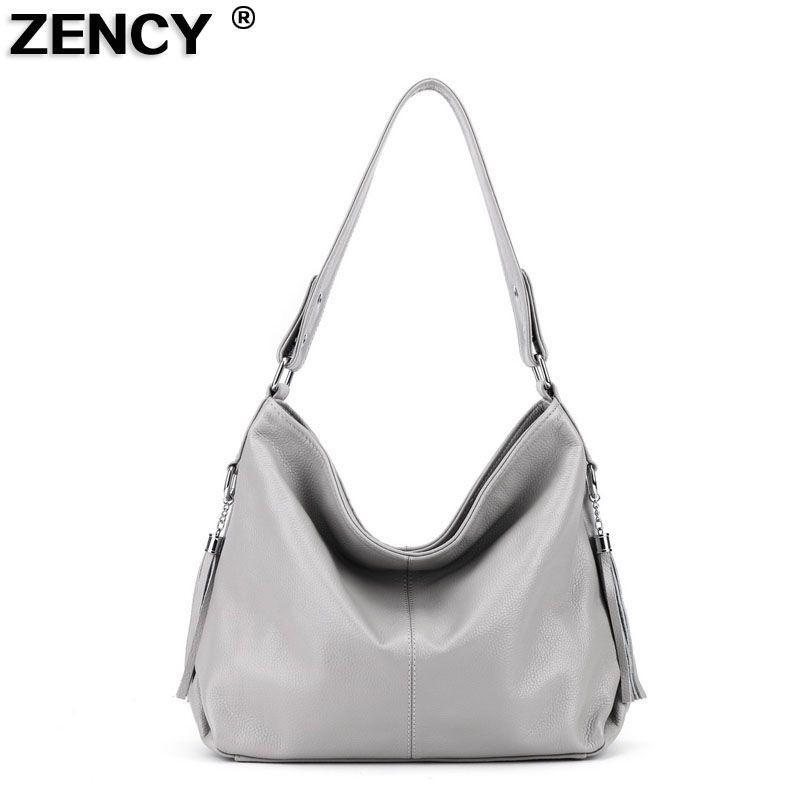 9 Colors New Fashion Genuine Leather Tassels Women's Handbag Ladies' Messenger Shopping Shoulder Bag Purse Satchel Gray White