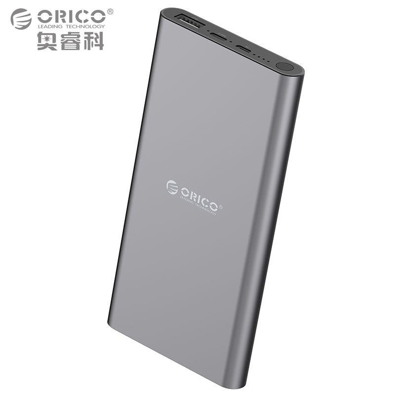 ORICO USB-C Тип-C 10400 мАч Запасные Аккумуляторы для телефонов Алюминий внешний Батарея 5v2. 4A двусторонней Quick Charge литий-полимерный серый