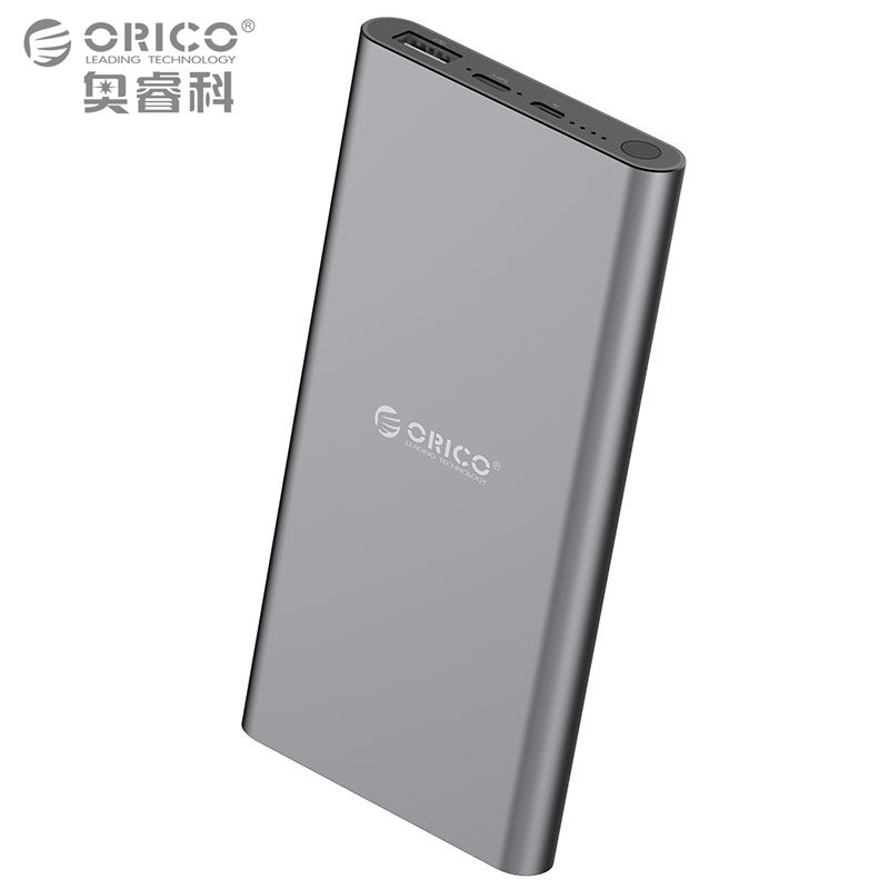 ORICO USB-C Type-C 10400mAh Power Bank Aluminum External Battery 5V2.4A Two-way Quick Charge Lithium Polymer Gray